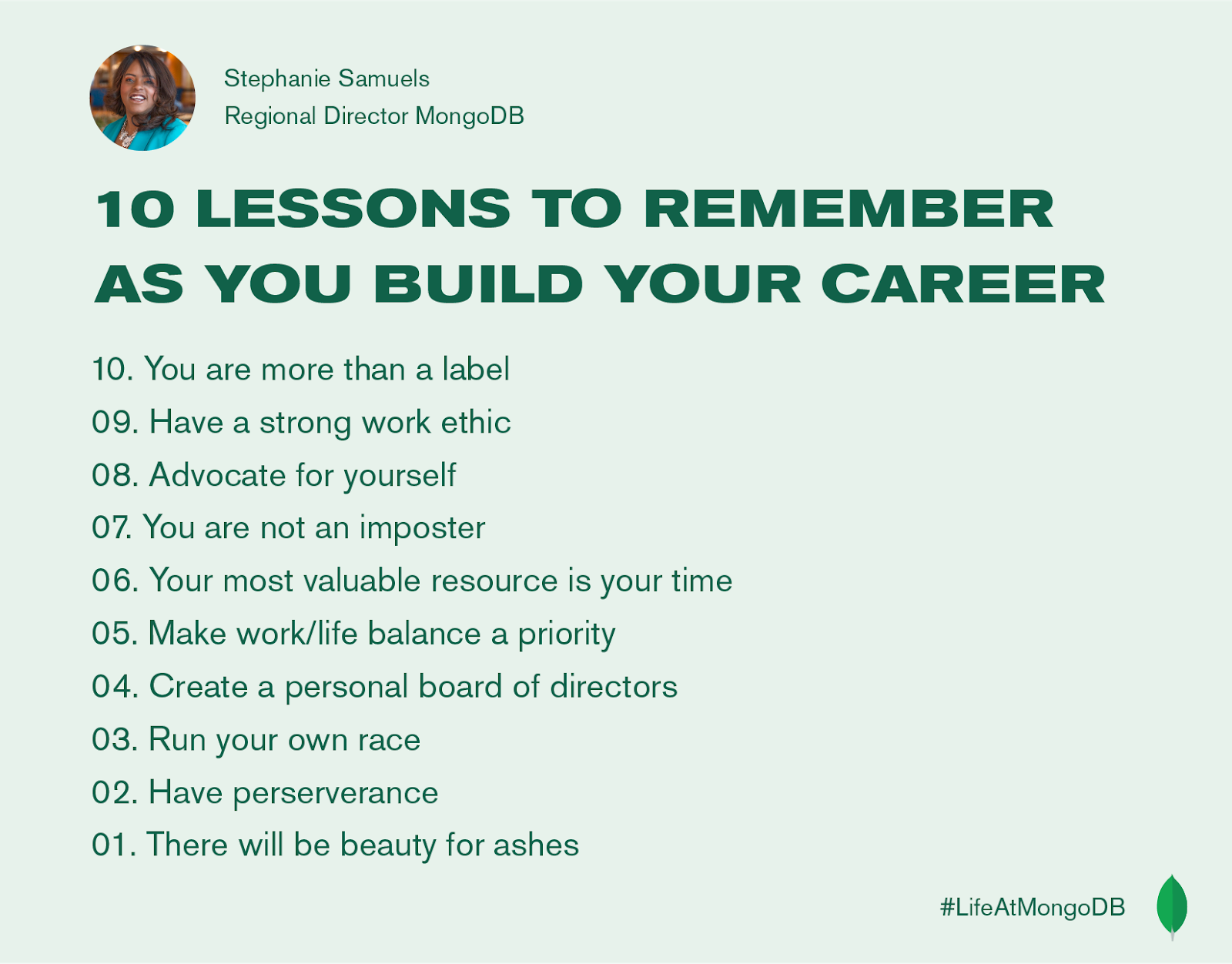 10 Lessons to remember as you build your career