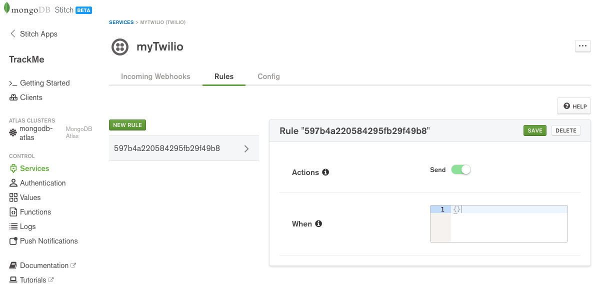 Configure Twilio rules in MongoDB Stitch