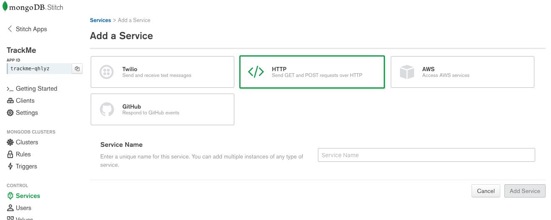 Create externalCheckin HTTP service in MongoDB Stitch