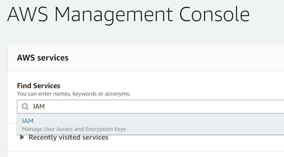 AWS Management Console Search
