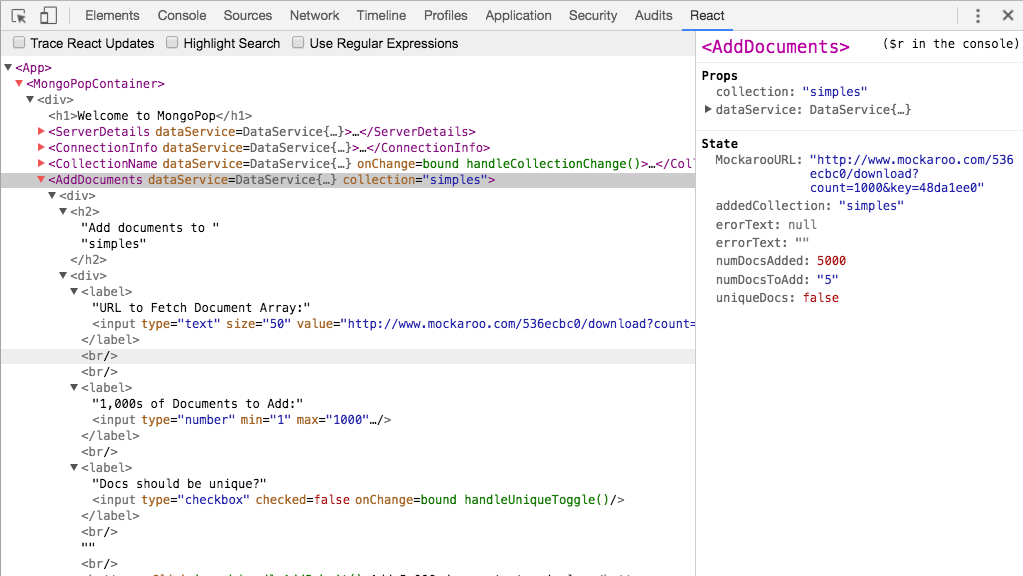 React in Google Chrome Developer tools