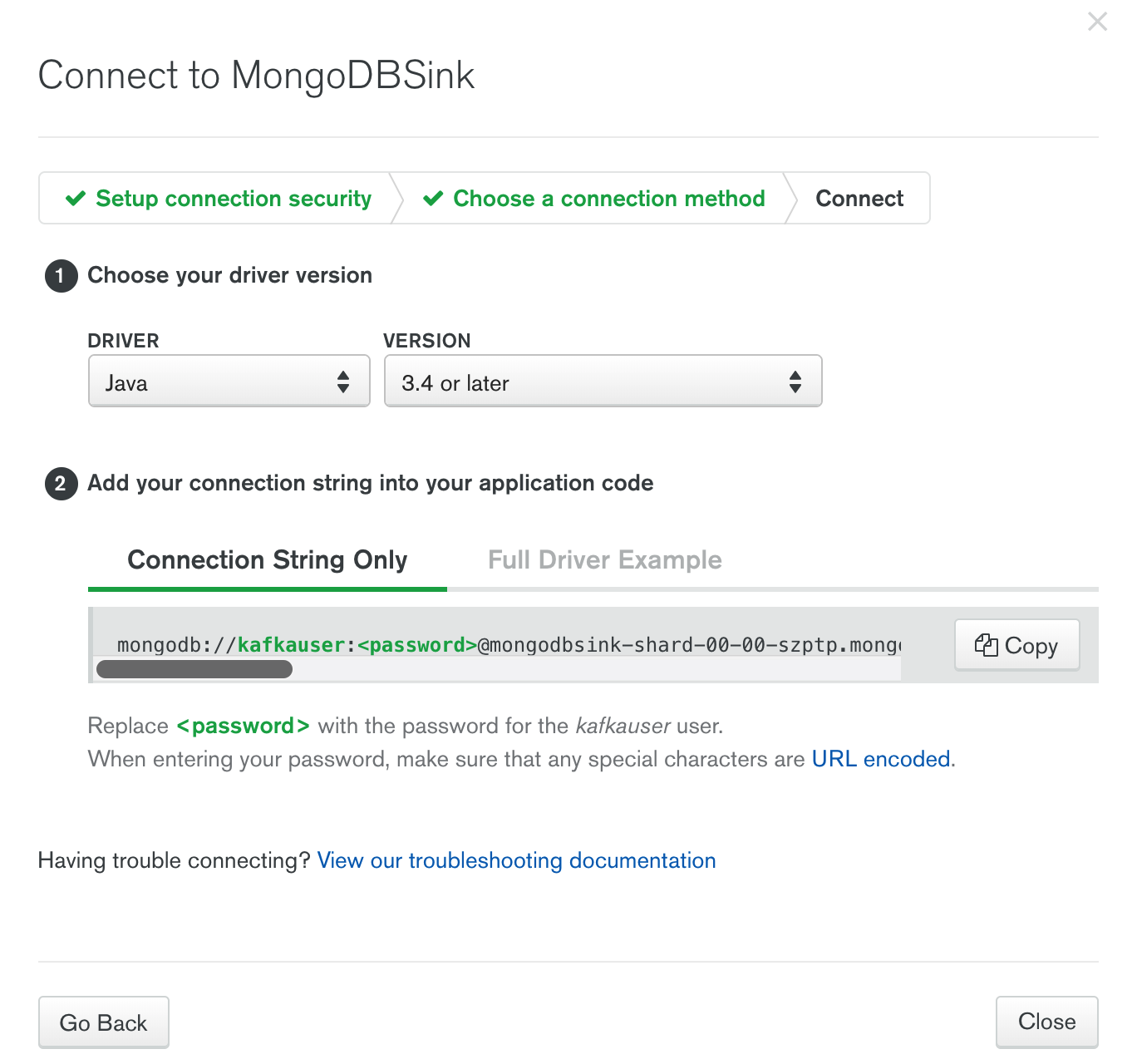 Connect page in MongoDB Atlas