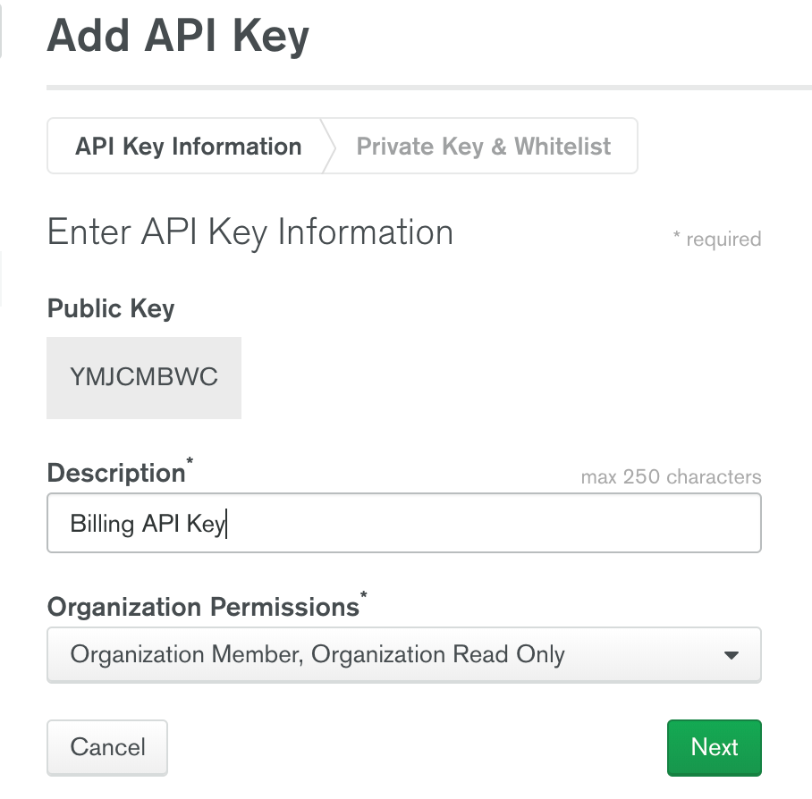 API Key creation