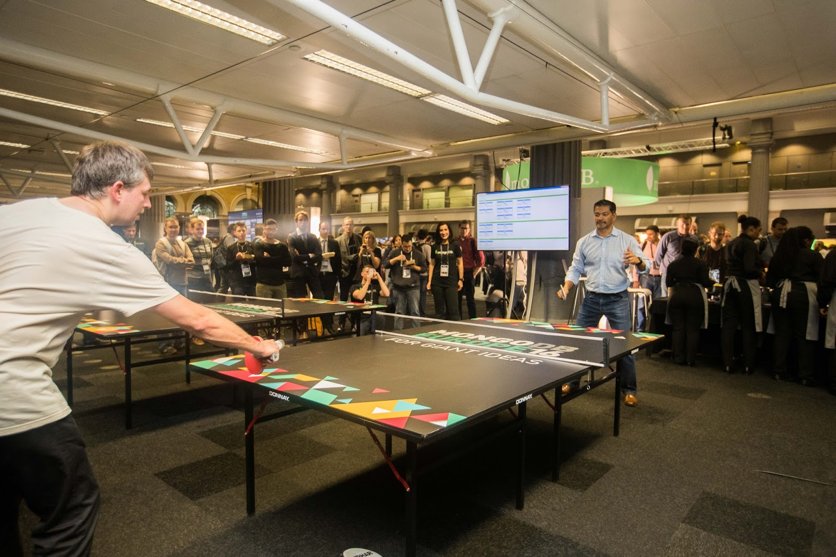 Dev Ittycheria, CEO, plays table tennis at MongoDB Europe