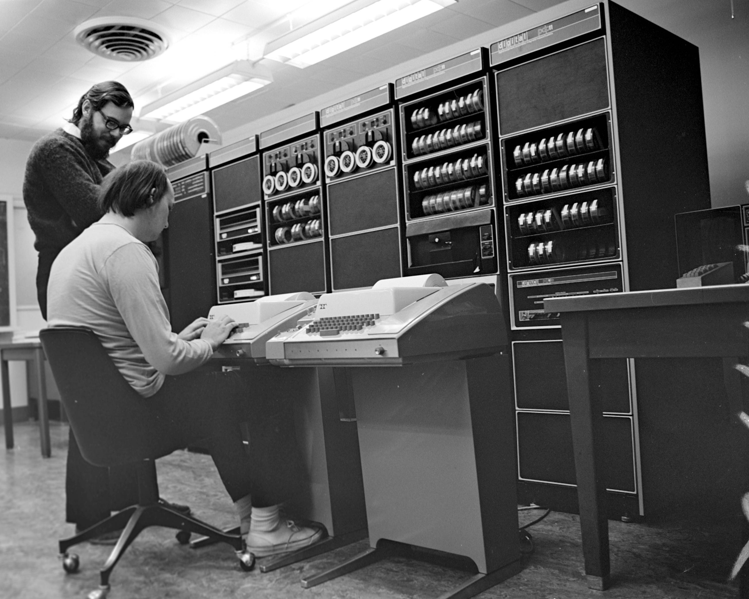 The fathers of Unix — Dennis Ritchie and Ken Thompson — at Bell Labs circa 1970