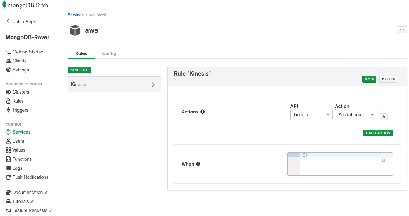 Configure the Amazon Kinesis through the MongoDB Stitch AWS Service