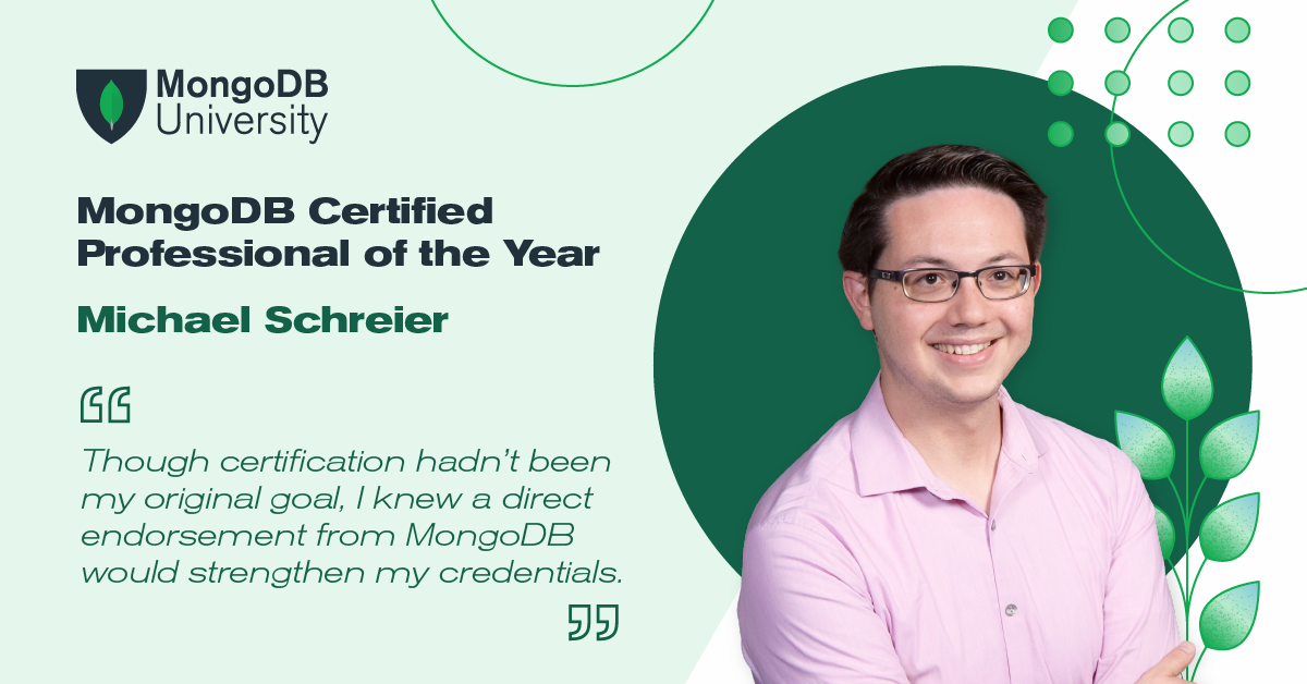 MongoDB Certified Professional of the Year Michael Schreier