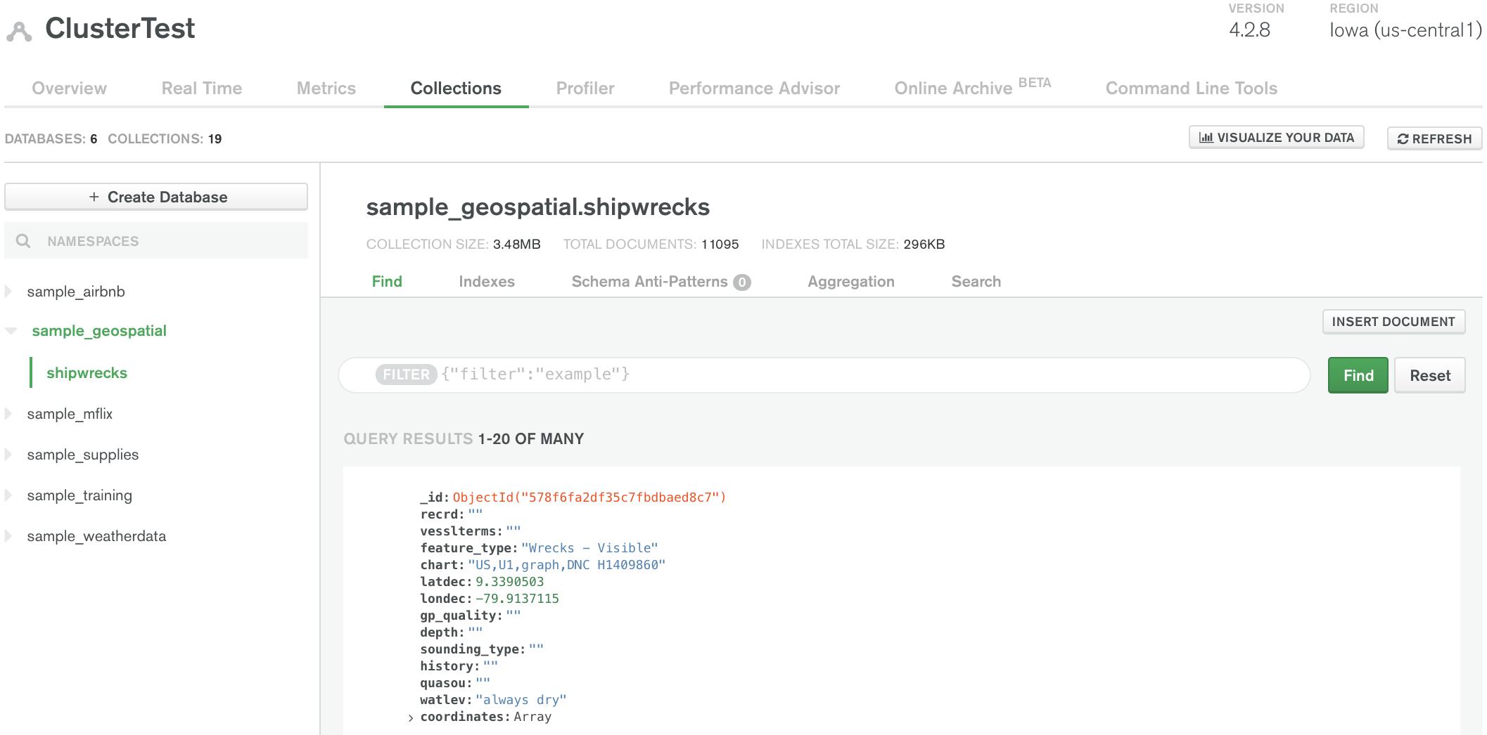 Alt Text: Screenshot of Collections view of Atlas UI