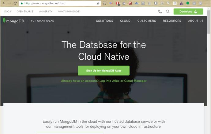 MongoDB Atlas Sign Up or Log In
