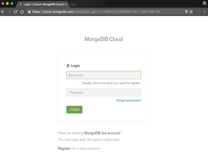 MongoDB Atlas Control Panel