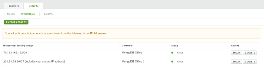 MongoDB Atlas secure network