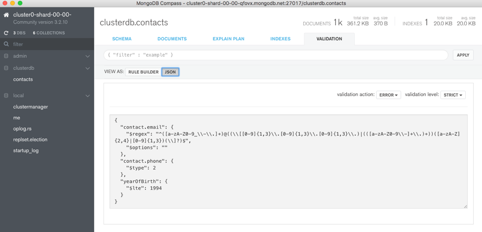JSON view of new document validation rule