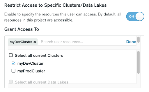 Restrict database user access to specific Atlas clusters or Data Lakes in a project