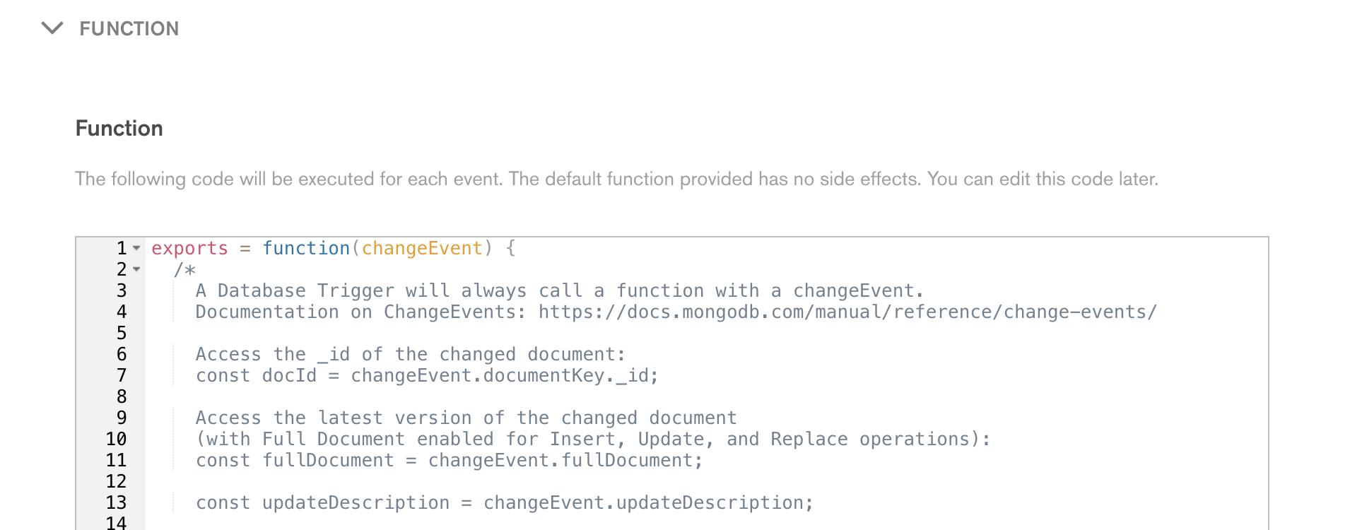 Trigger Function Editor