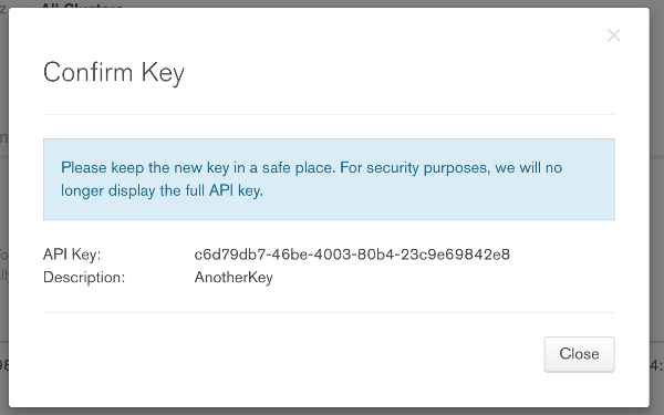 Confirm API Key dialog
