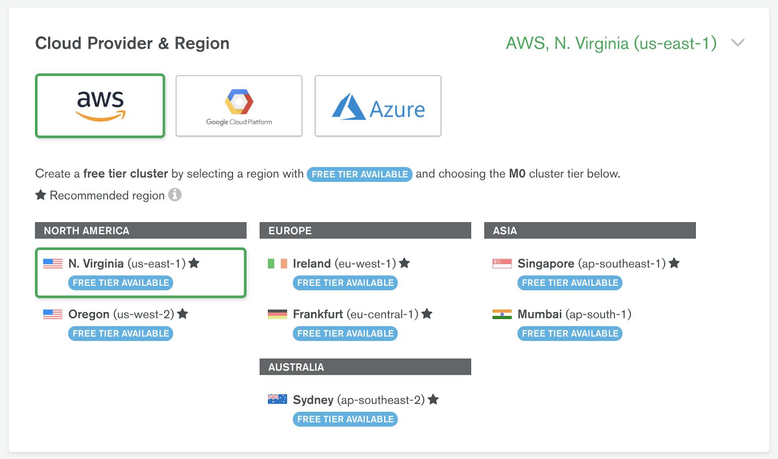"""MongoDB Atlas Cloud Provider & Region Selection"""