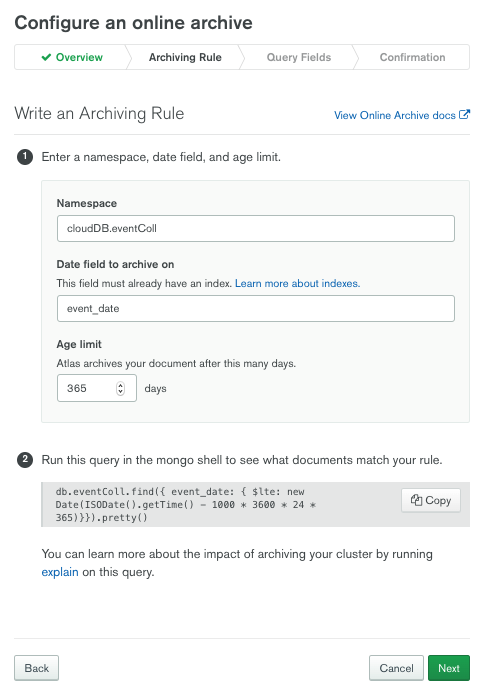 Configure an Atlas Online Archive and write an archiving rule