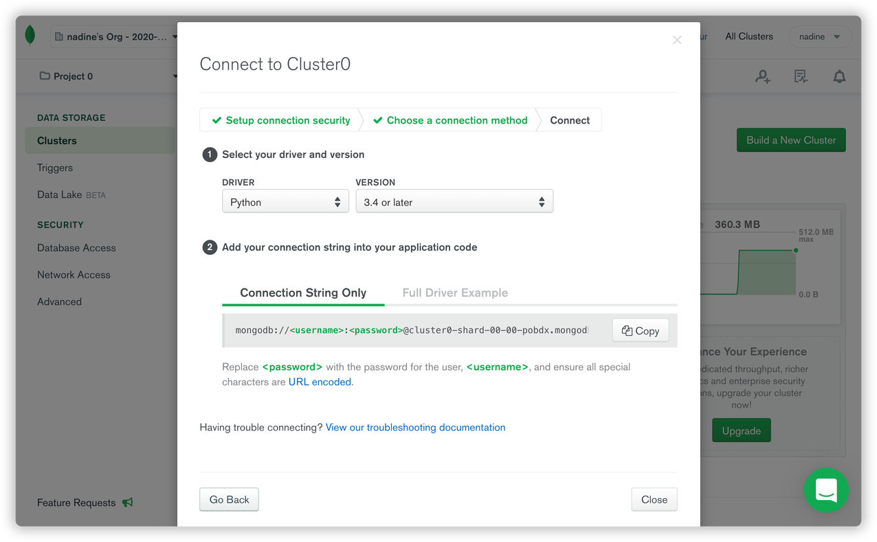 Connection string for MongoDB Atlas cluster