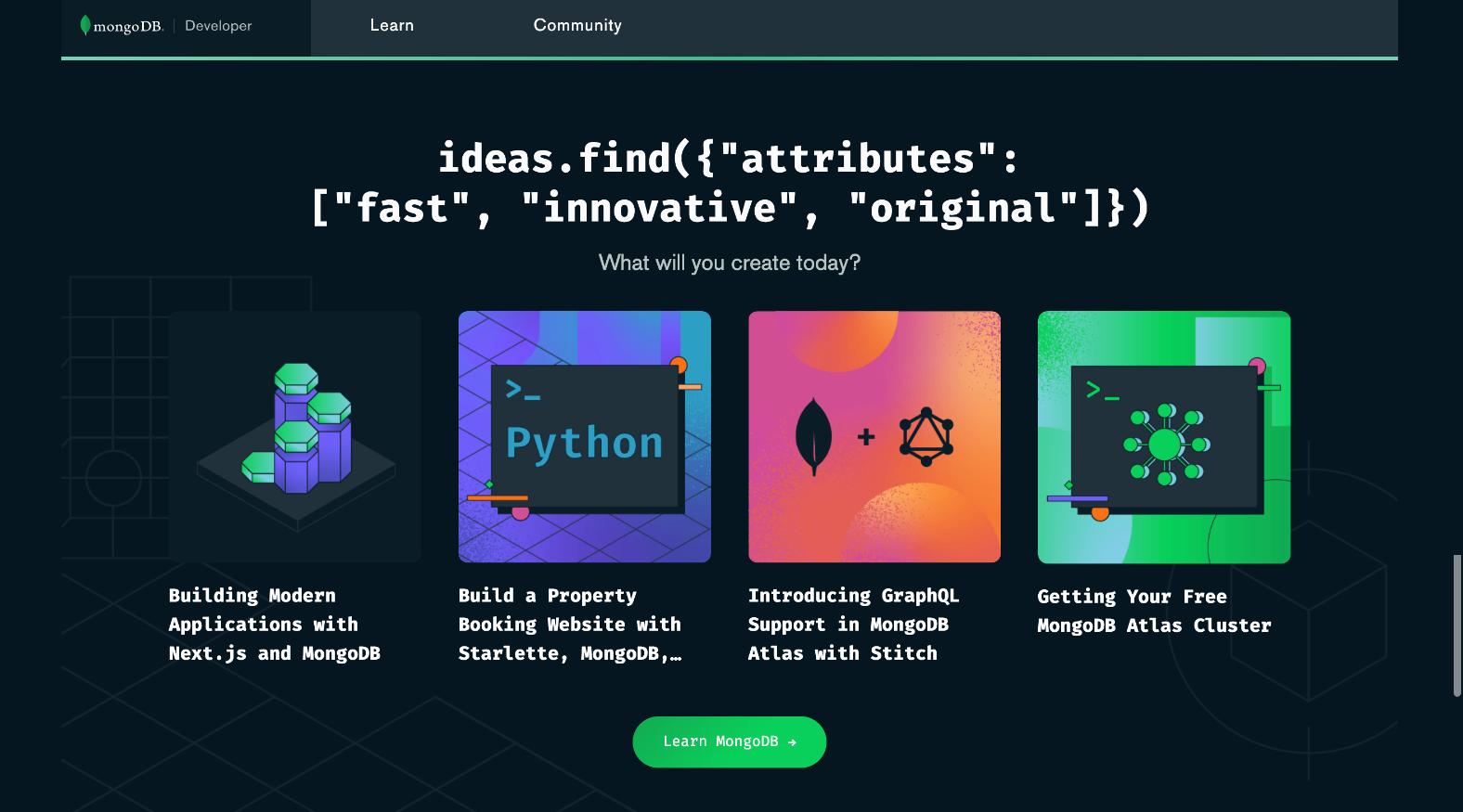 MongoDB Developer Hub Home Page