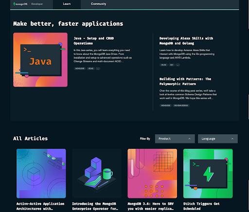 MongoDB Developer Hub Learn Page