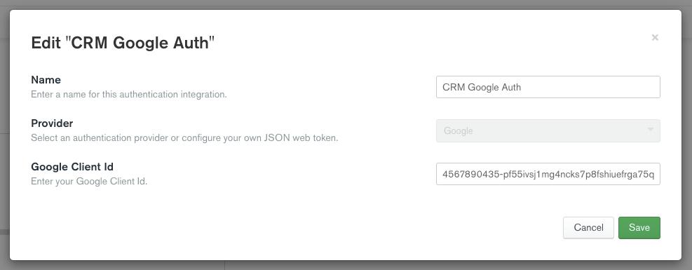 Edit CRM Google Auth