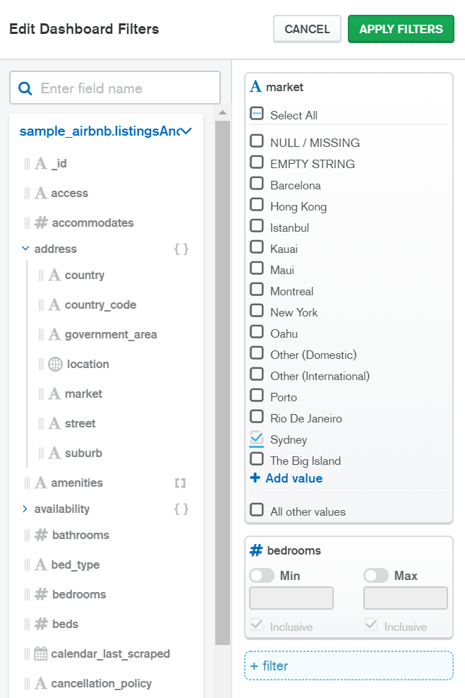 Edit Dashboard Filters