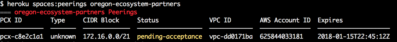 Heroku CLI VPC Peering pending requests