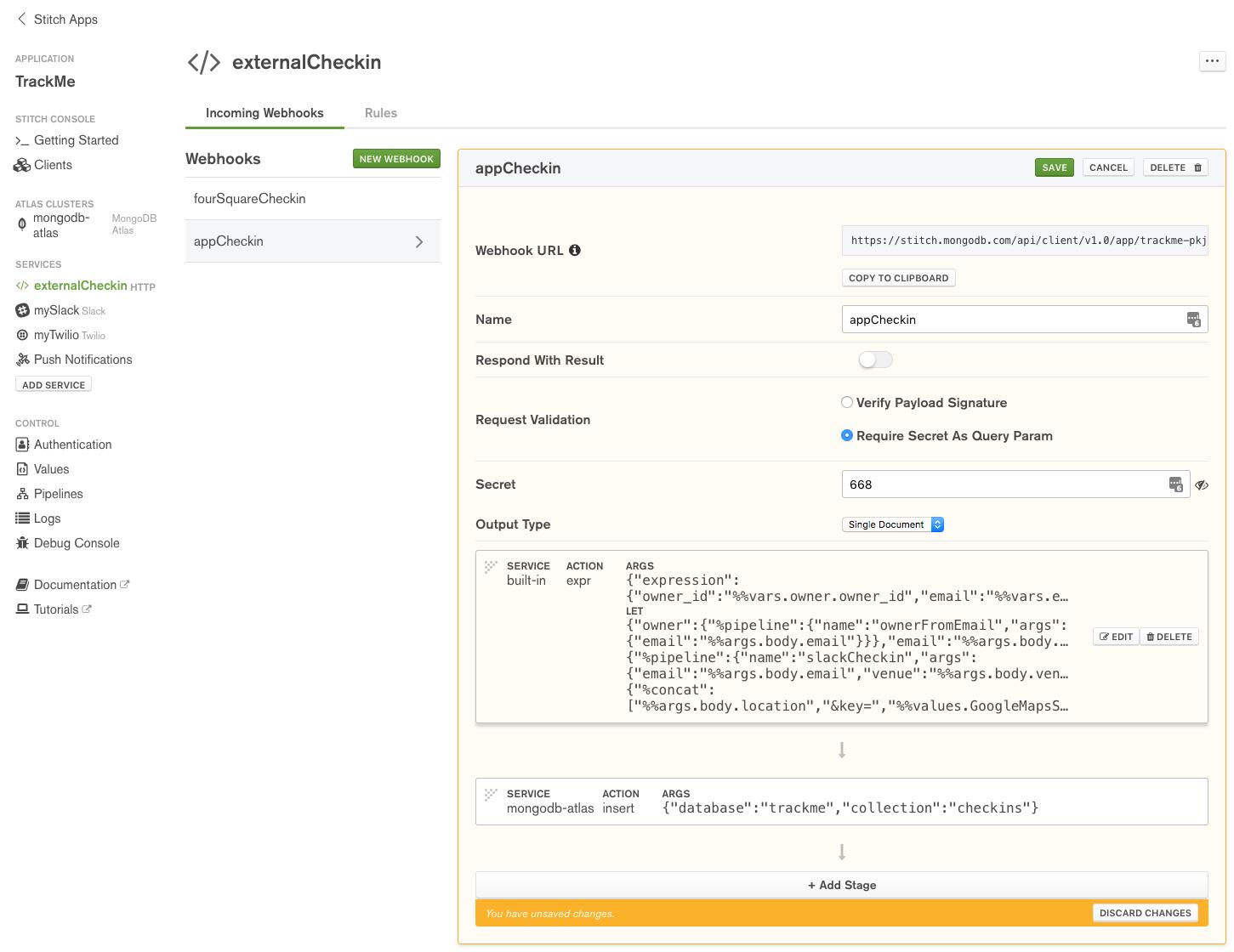Define appCheckin WebHook in MongoDB Stitch