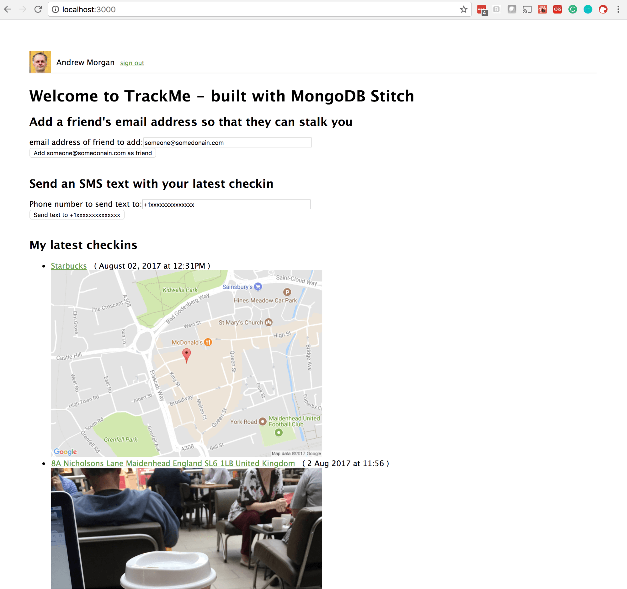 TrackMe ReactJS Web app frontend for MongoDB Stitch