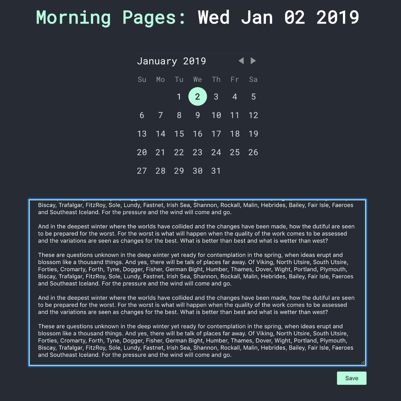 Screenshot of Morning-pages