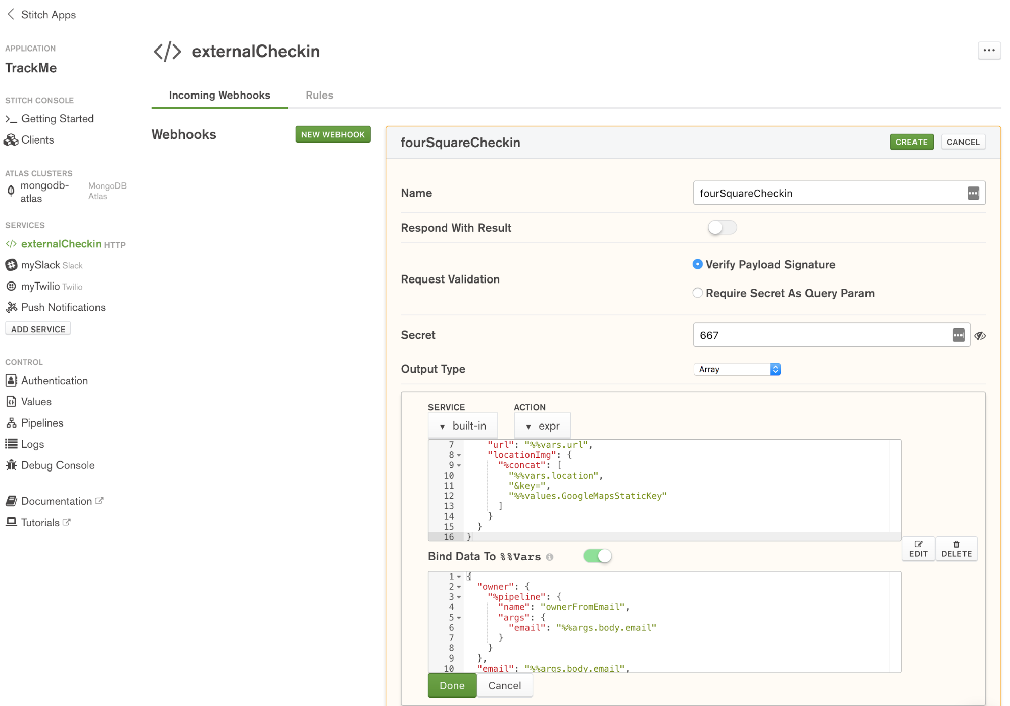 Define fourSquareCheckin WebHook in MongoDB Stitch