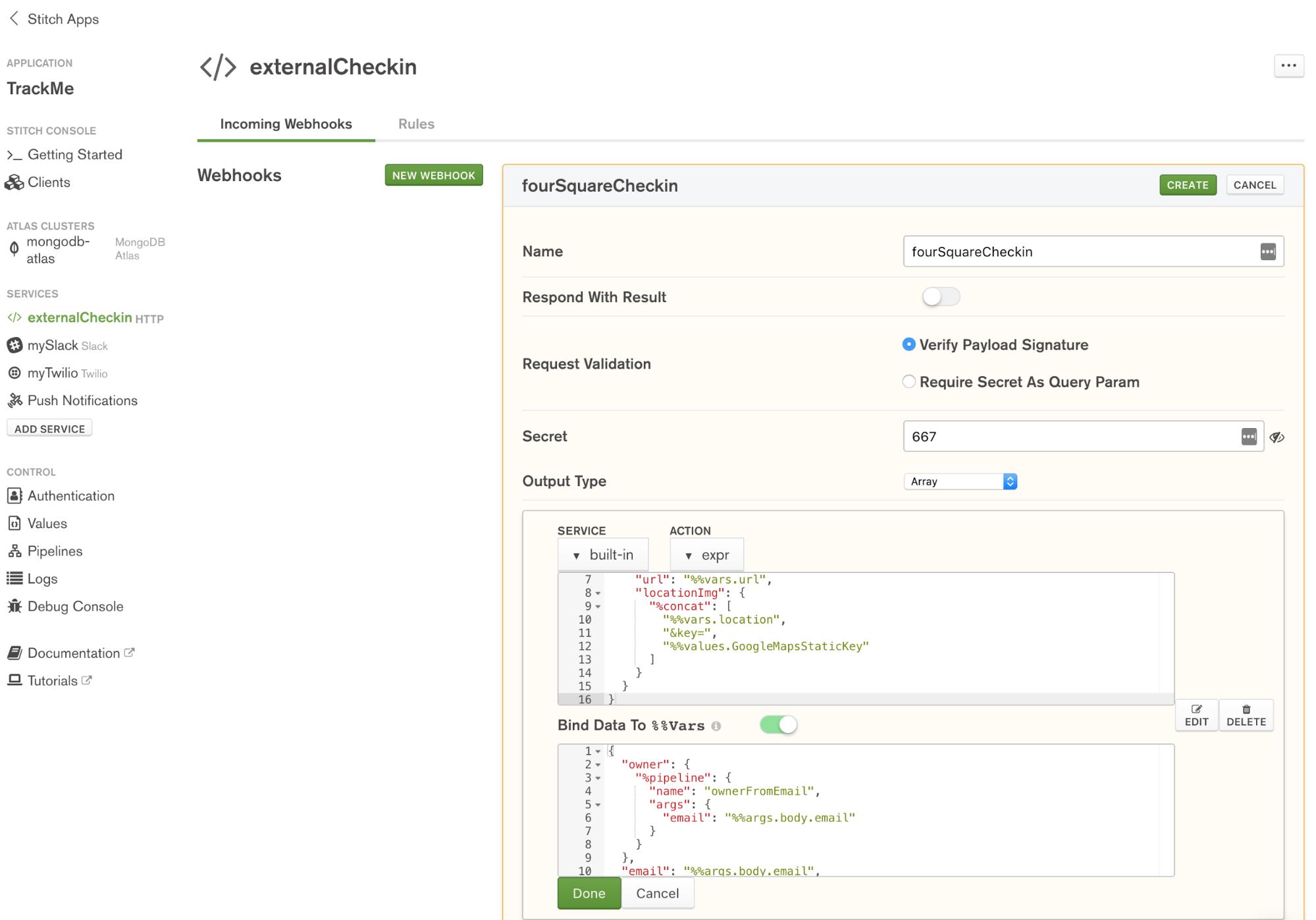 Define fourSquareCheckin WebHook in MongoDB Stitch