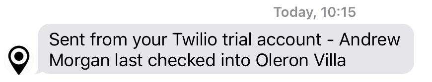 Text message from Twilio – via MongoDB Stitch