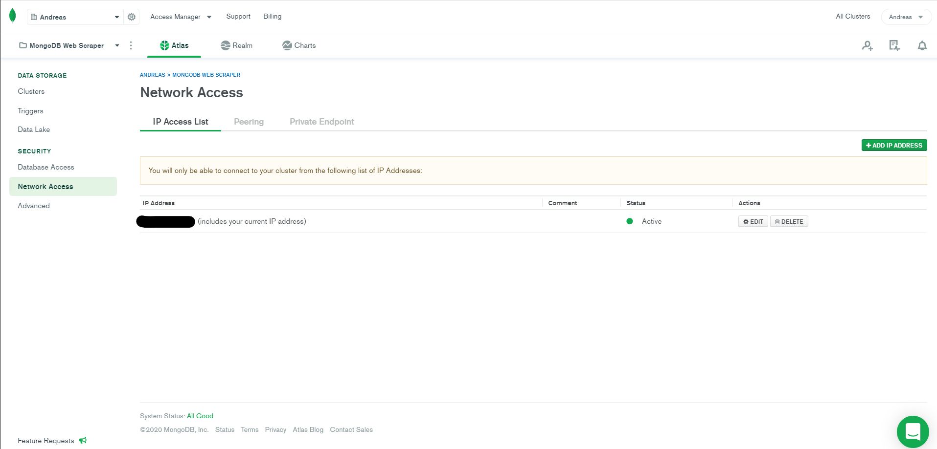 connect to a mongodb atlas cluster
