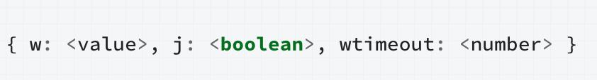using a write concern property with mongodb replica sets