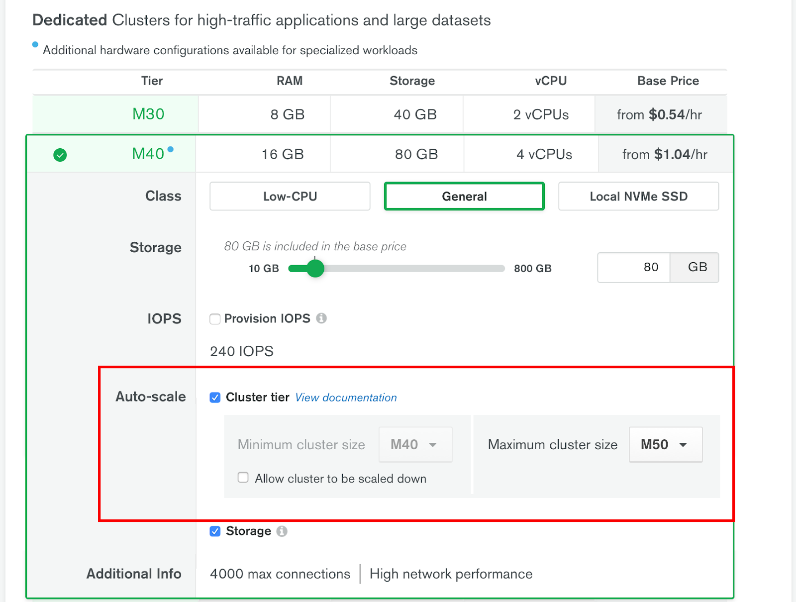 setting up auto-scaling in mongodb atlas