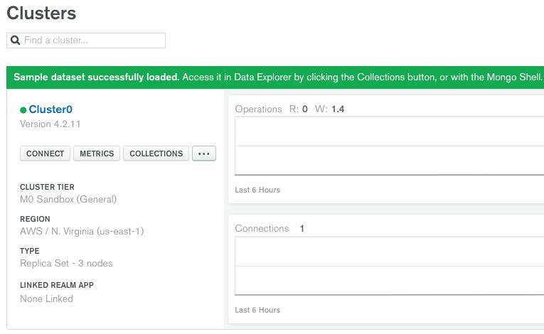 creating a sample database in mongodb atlas