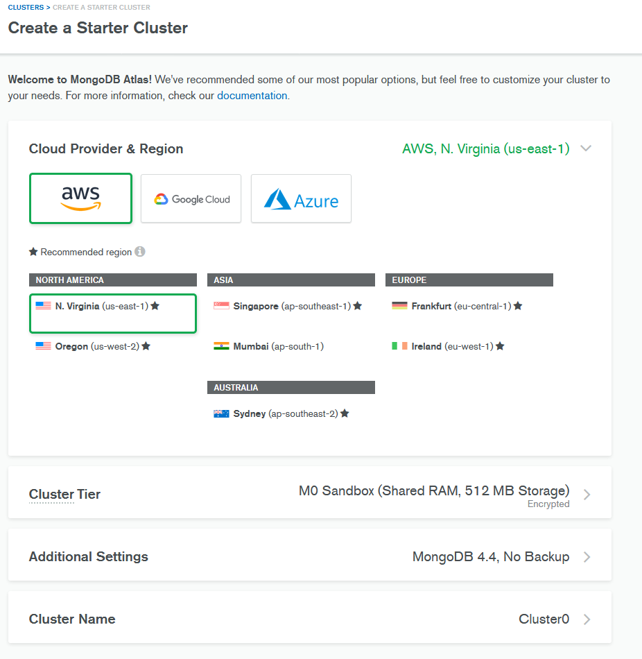 create a cluster in mongodb atlas for a node.js database