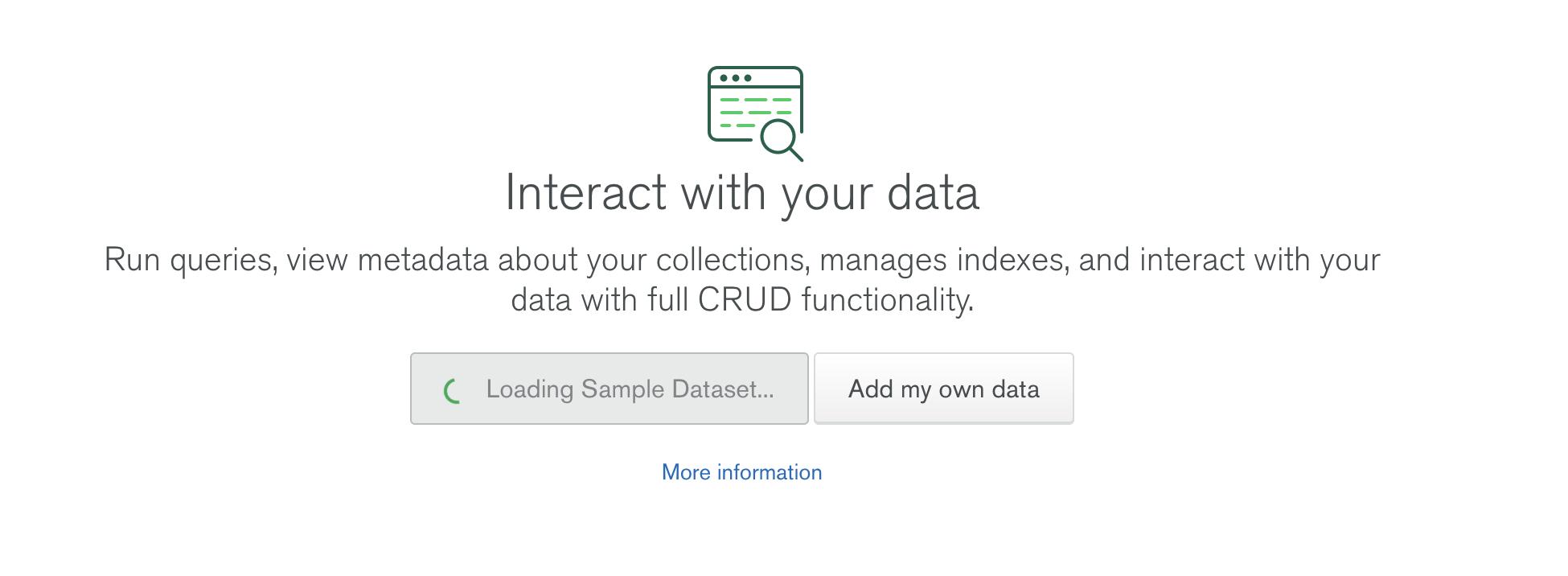 Screenshot of Loading Sample Data message