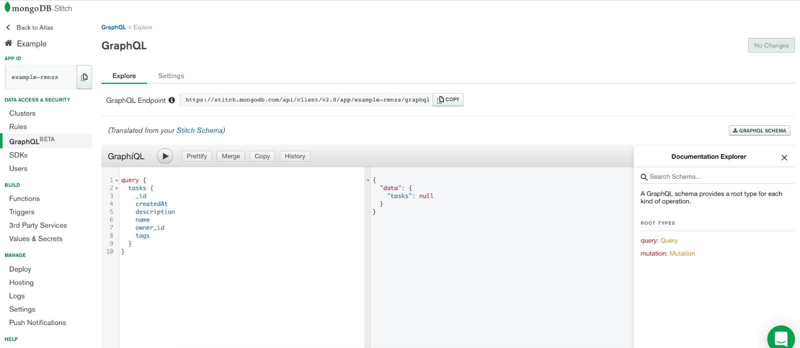MongoDB Stitch GraphQL