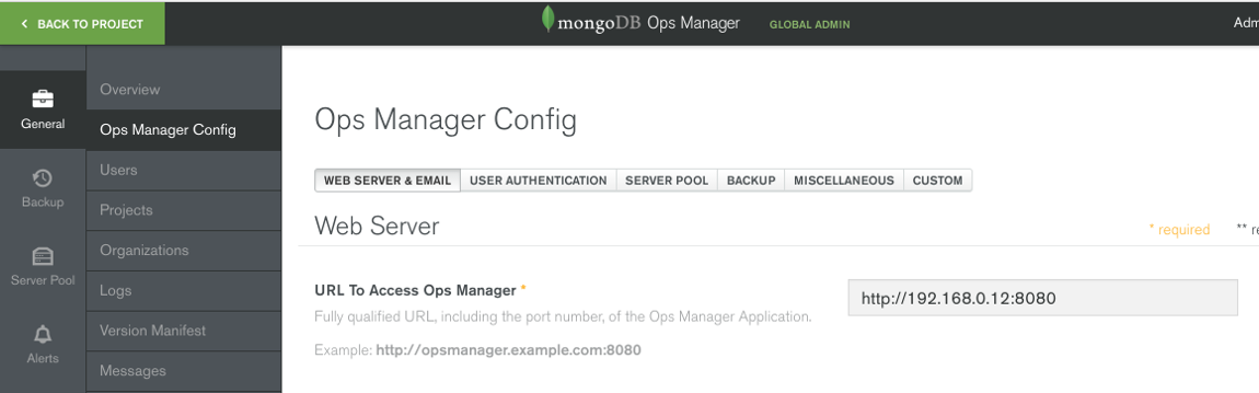 Ops Manager Config Page