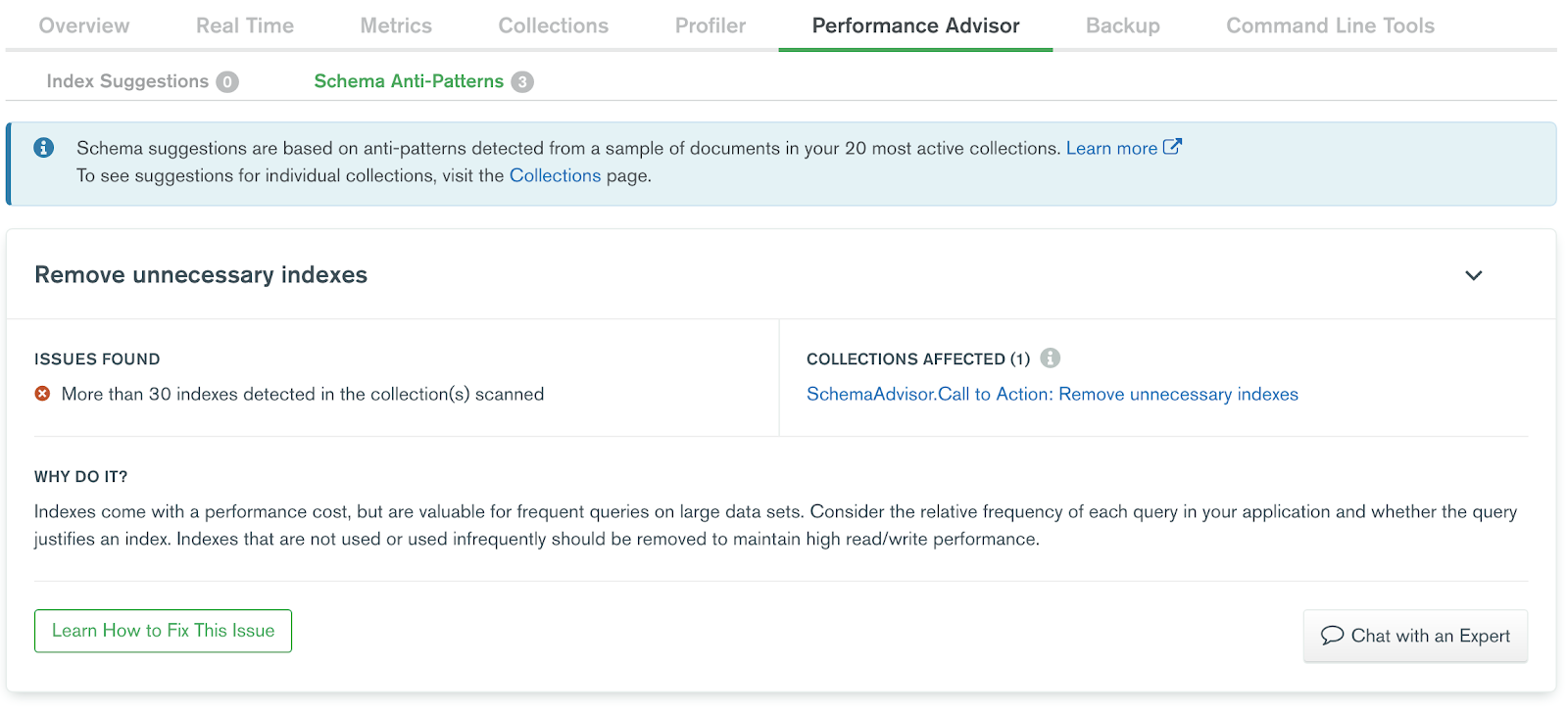 Sample schema suggestion in the MongoDB Atlas Performance Advisor