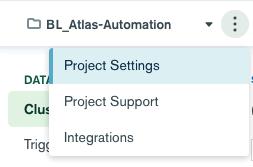 MongoDB Atlas Settings Menu
