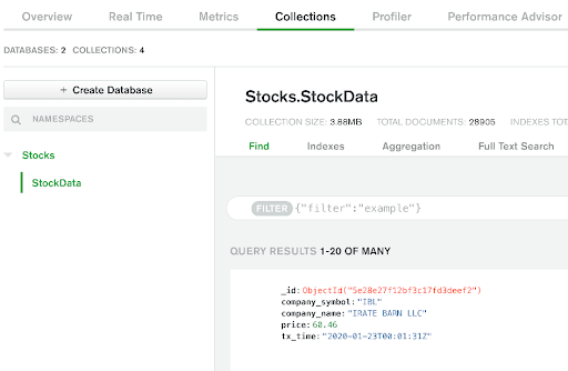Sample collated data from MySQL and MongoDB in MongoDB Atlas