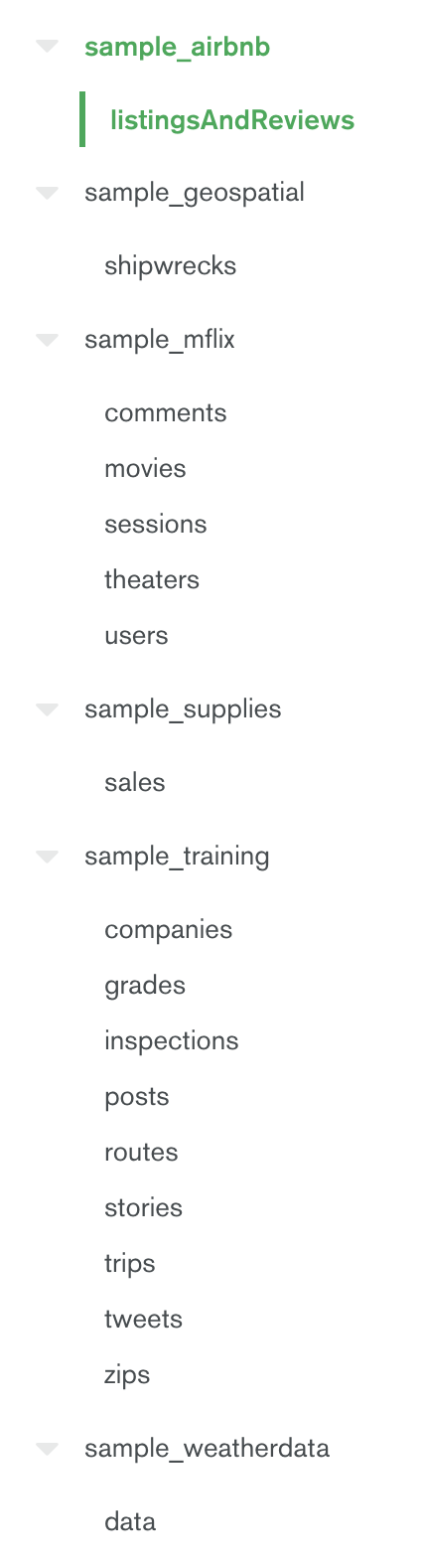 Available Databases and Schemas