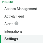 MongoDB Atlas Settings Menu