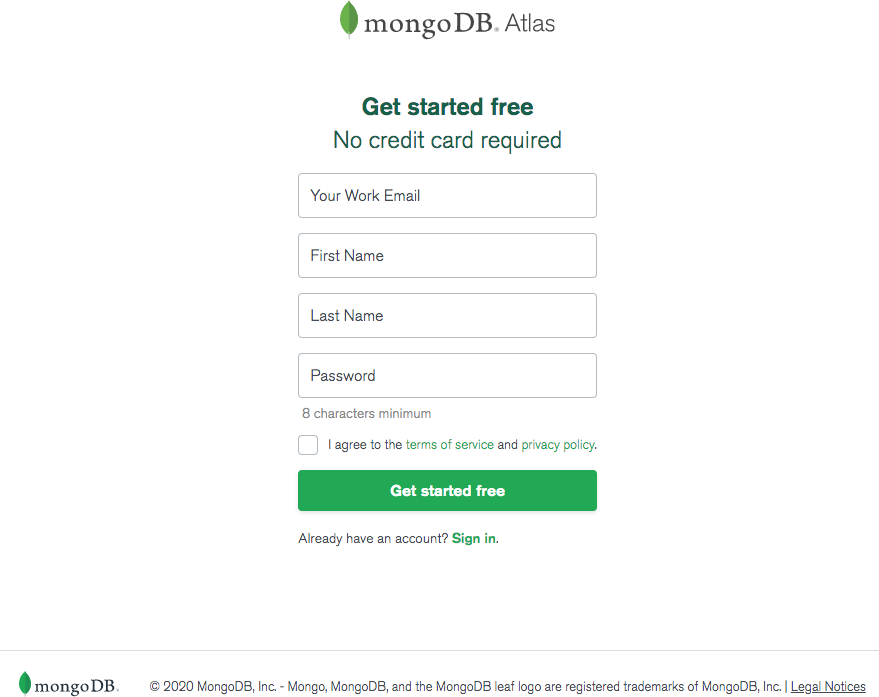 Register for MongoDB Atlas on Azure