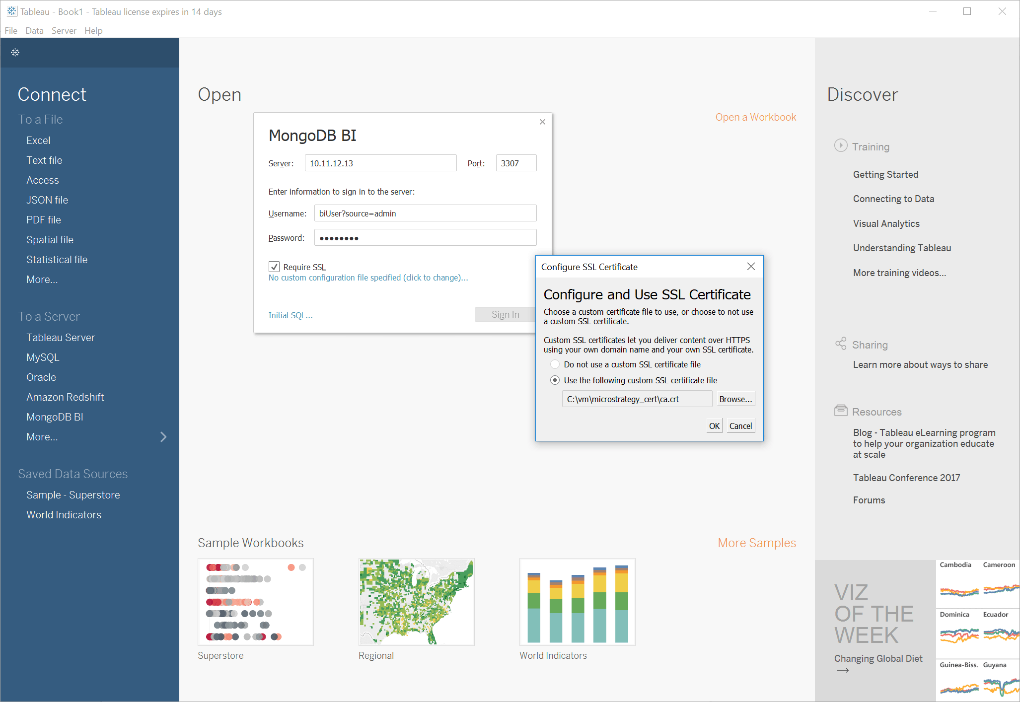 Connecting tableau to mongodb mongodb once you have selected the right certificate you can complete the connection by clicking sign in and tableau will complete the connection to the bi xflitez Images