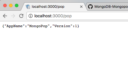 Results of browsing to the top-route for the Mongopop MongoDB application