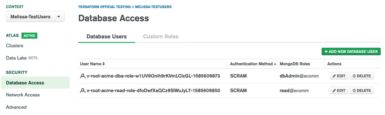 Database Access User List